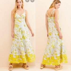 Anthropologie Solenne Flounced Maxi Dress